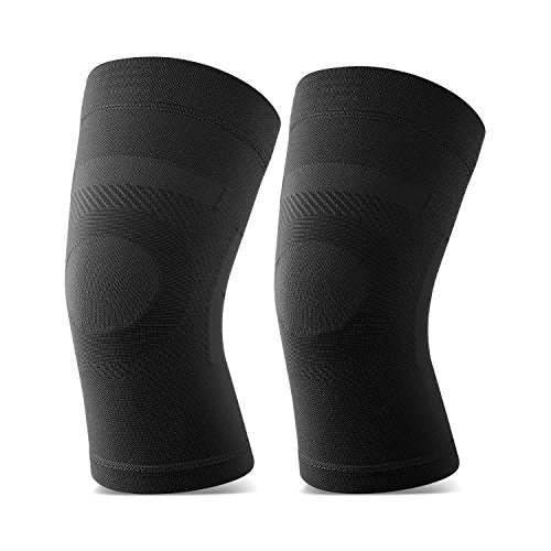 Knee Sleeves, 1 Pair, Lightweight Knee Brace Fit for Men & Women, Knee Compression Sleeves Support for Pain Relief, Joint Pain, Arthritis, Running, Sports, Meniscus Tear, Injury Recovery, Black L