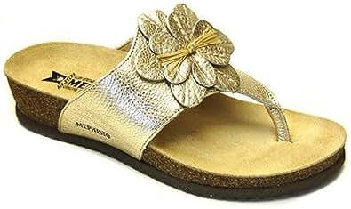 Mephisto Women's Babata Thong Sandals,Gold,12 M