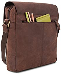 LEABAGS Amsterdam genuine buffalo leather city bag in vintage style - Nutmeg