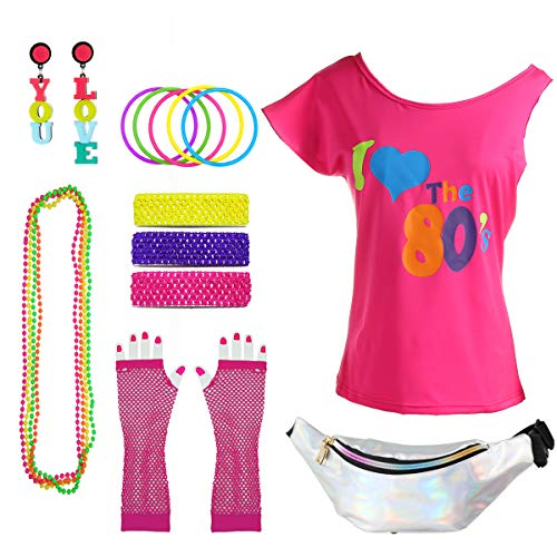 Women's 80's Off Shoulder T Shirt 1980's Theme Party Costume Outfit (L/XL, Hot Pink with ()