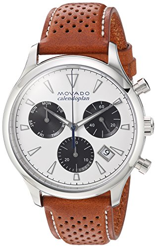 Heritage Chronograph (Movado Men's Swiss Quartz Stainless Steel and Leather Casual Watch, Color:Brown (Model:)