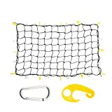 #9: OrionMotorTech 3'x4' to 6'x8' Heavy Duty Latex Cargo Net with 12 Tangle-free D Clip Carabiners + 12 Nylon Hooks, Small 4