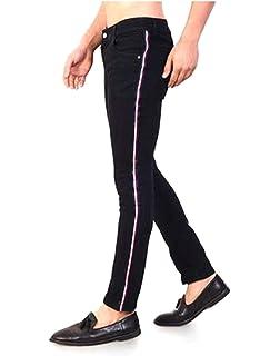 e17965fb2e Urbano Fashion Men's Black Side Striped Slim Fit Jeans Stretchable ...