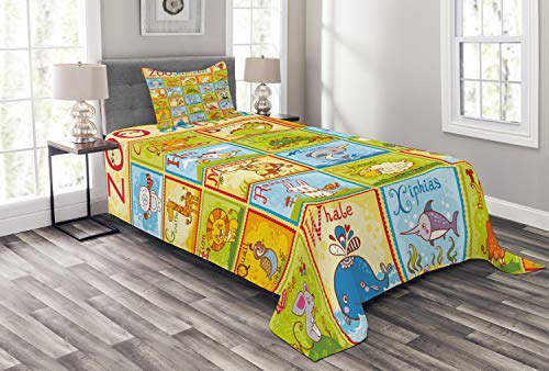 l Bedspread Set Twin Size, Zoo Alphabet Design Colorful Style Funny Cartoon Animals Children Kids School, 2 Piece Decorative Quilted Coverlet with 1 Pillow Sham, Green Yellow ()