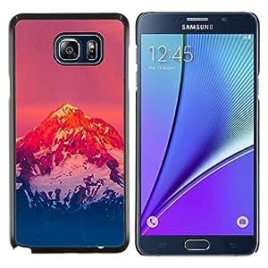 LECELL--Funda protectora / Cubierta / Piel For Samsung Galaxy Note 5 5th N9200 -- Montaña Nevada Sunset --