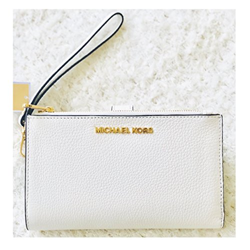 Michael Kors Jet Set Leather White Wristlet Wallet Clutch Bag
