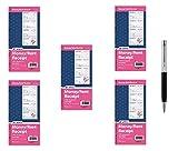 Adams Money and Rent Receipt Book, 2-Part Carbonless, 5 1/4 x 11 Inch Detached, Spiral Bound, 200 Sets per Book (SC1152) - Bundle Includes Plexon Ballpoint Pen (5-Pack Bundle)