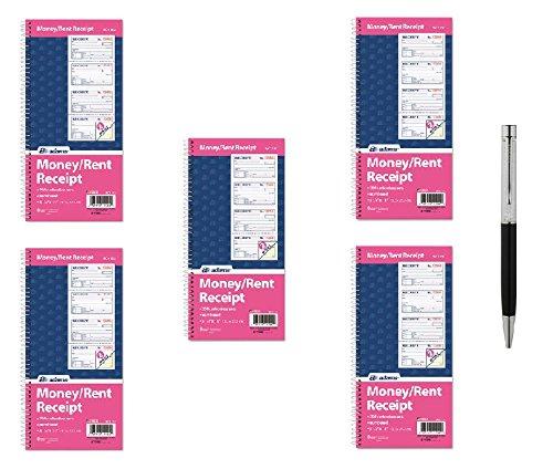 Adams Money and Rent Receipt Book, 2-Part Carbonless, 5 1/4 x 11 Inch Detached, Spiral Bound, 200 Sets per Book (SC1152) - Bundle Includes Plexon Ballpoint Pen (5-Pack Bundle) by PlexonPackaged-Adams (Image #4)