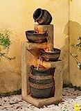 John Timberland Stoneware Bowl and Jar Indoor-Outdoor 46' H. LED Fountain