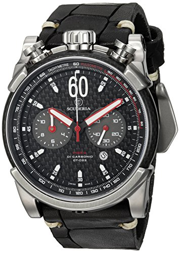 CT-Scuderia-Mens-Fibra-di-Carbonio-Swiss-Quartz-Stainless-Steel-and-Leather-Casual-Watch-ColorBlack-Model-CS10158