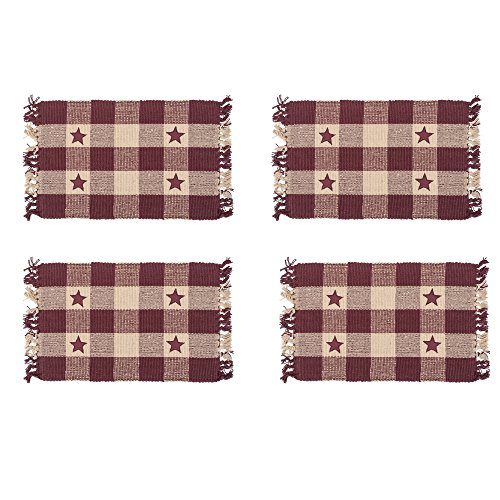 Burgundy Star and Cream Checker 13 x 19 All Cotton Placemat Pack of 4