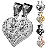 Aeici Couples Heart Necklace Pendants Stainless Steel Love Heart CZ Puzzle Matching