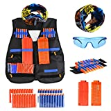 Tactical Vest Kit for Nerf Guns N-Strike Elite Series, Kids Outdoor Vest with 40 Pcs Refill Darts, 2 12 Reload Clips, 1 Face Tube Mask, 2 Hand Wrist Band, 1 Protective Glasses, 47 pcs in Pack