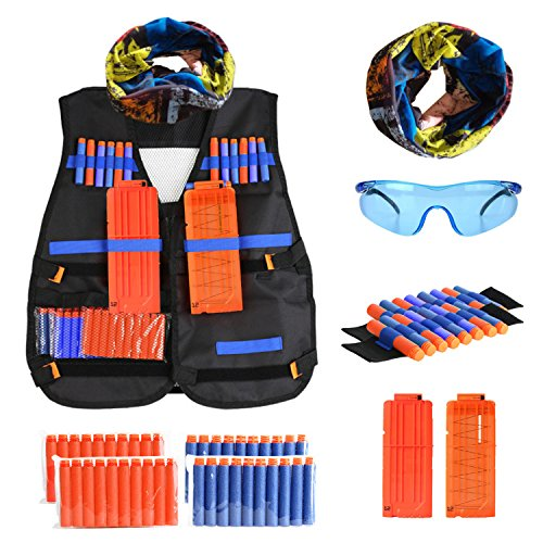 Tactical Vest Kit for Nerf Guns N-Strike Elite Series, Kids Outdoor Vest with 40 Pcs Refill Darts, 2 12 Reload Clips, 1 Face Tube Mask, 2 Hand Wrist Band, 1 Protective Glasses, 47 pcs in Pack by GoTEK
