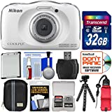 Nikon Coolpix W100 Wi-Fi Shock & Waterproof Digital Camera (White) with 32GB Card + Case + Battery + Flex Tripod + Float Strap + Kit