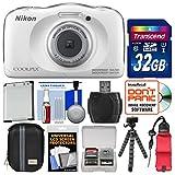 Nikon Coolpix W100 Wi-Fi Shock & Waterproof Digital Camera (White) with 32GB Card + Case + Battery + Flex Tripod + Float Strap + Kit