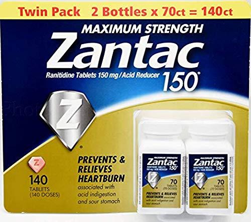 Zantac 150 Maximum Strength Heartburn Relief & Acid ReducerTablet 2 Packs (140 Tab) Suitable for Vegans