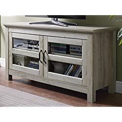 "WE Furniture 44"" Wood TV Media Stand Storage Console - White Oak"