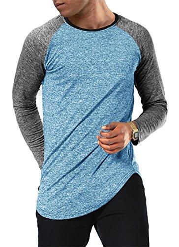 Moomphya Men's Long Sleeve Raglan Jersey Shirt Hipster Hip Hop Basic Swag Curved Hem Baseball T Shirt (Large, Blue1)