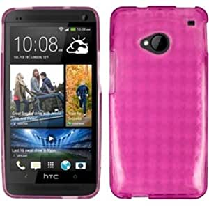 TPU Rubber Gel Skin Case Cover For HTC One M7 - Hot Pink