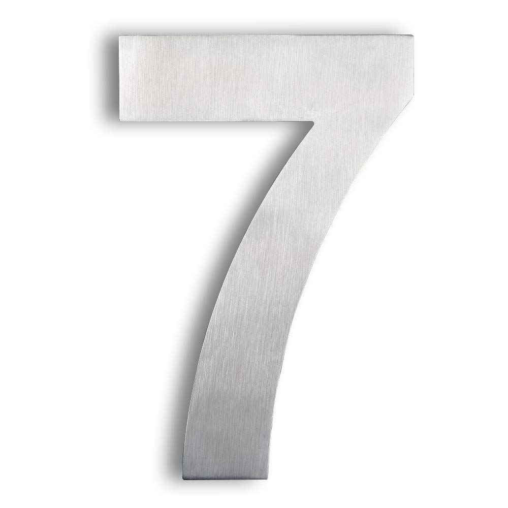 Mellewell House Number Floating 8 Inch Stainless Steel Brushed Nickel, Number 7 Seven, HN08-7
