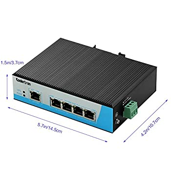 Koolertron 100m 5-port Industrial High-power Poe Switch Thernet Network Switch Din-rail Mount Lightning Protection Anti-static Dustproof 2