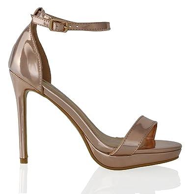 3515c6ceec6 ESSEX GLAM Womens Platform High Heel Peep Toe Gold Metallic Ankle Strap  Sandals Shoes 5 B