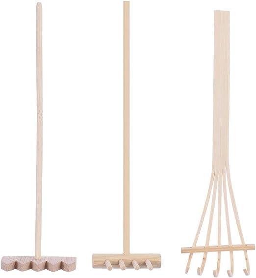 Juego de 3 mini rastrillos japoneses de jardín Zen de madera para jardín zen bandeja de arena, decoración de mesa, decoración de Feng Shui, hogar y oficina: Amazon.es: Jardín