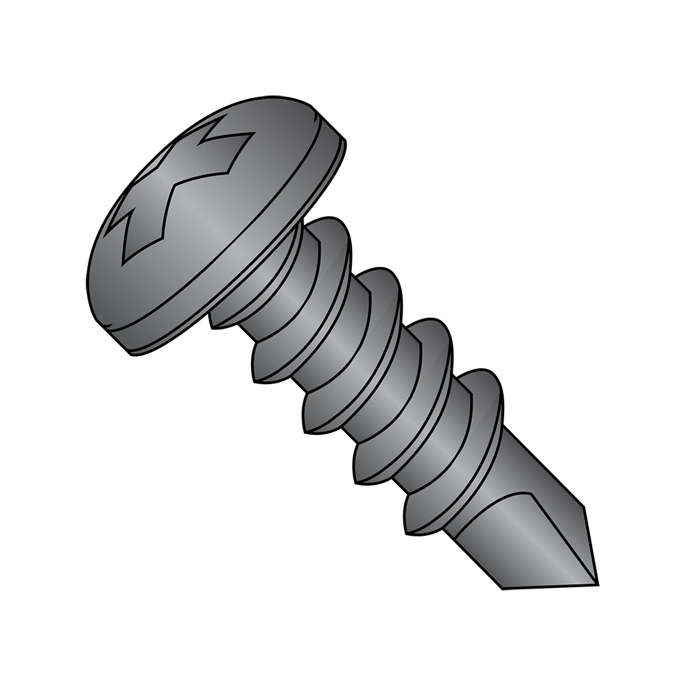 #8-18 Thread Size Phillips Drive Pan Head Steel Self-Drilling Screw Small Parts 0806KPPBZ Pack of 100 Black Zinc Plated Finish Pack of 100 #2 Drill Point 3//8 Length 3//8 Length