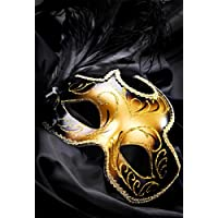 8 X 10 ft Black and Gold backdrop Mask Masquerade Carnival Black Feathers Background 250X300CM Party Photographic Studio MJ01