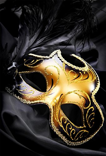Custom Masquerade Mask - 8 X 10 ft Black and Gold backdrop Mask Masquerade Carnival Black Feathers Background 250 X 300 CM Custom Birthday Party Photographic Photo Studio MJ01