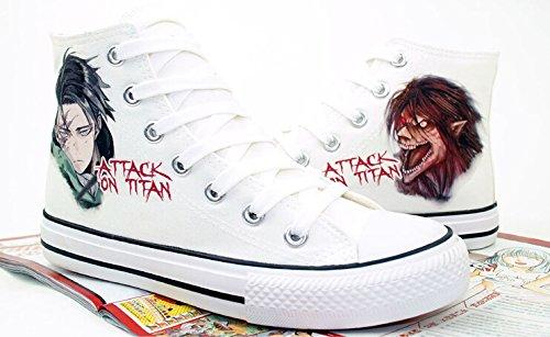 Attack on Titan Shingeki No Kyojin Levi Eren Shoes Canvas Shoes Sneakers White YGqid