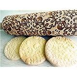 Rolling pin SKULLS WREATH. Wooden embossing rolling pin with SKULL WREATH pattern. Embossed cookies. Pottery.
