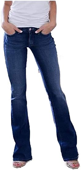 YAXINHE Womens Long Pants Denim Piece Slim Fit Over Waist Washed Straight Jean