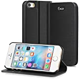 iPhone SE Case, GreatShield SHIFT LX Leather Wallet Case with Card Slots for Apple iPhone SE (Black)