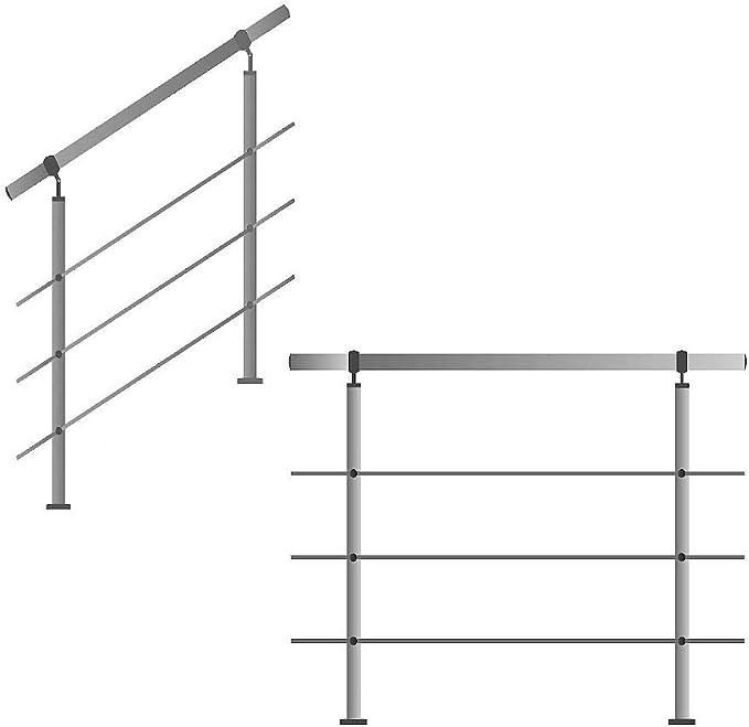 Acero inoxidable Barandilla unidad de mano para escaleras brüstung Balcón con/sin Travesaños: Amazon.es: Bricolaje y herramientas