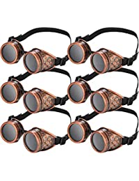 Steampunk Cyber Goggles Glasses Vintage Victorian Goggles Cyber Punk Gothic for Cosplay and Costumes (6 Packs)