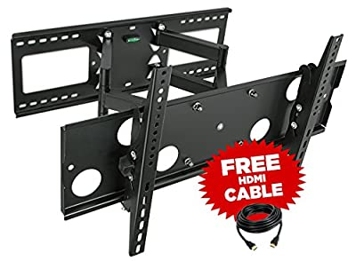 "Mount-It! Full Motion TV Wall Mount for 16'', 18'', 24'' wood studs, Fits 32"" - 65"" LCD LED Plasma flat screen curved TVs up to 165 lbs; INCLUDES HDMI Cable (MI-2291)"