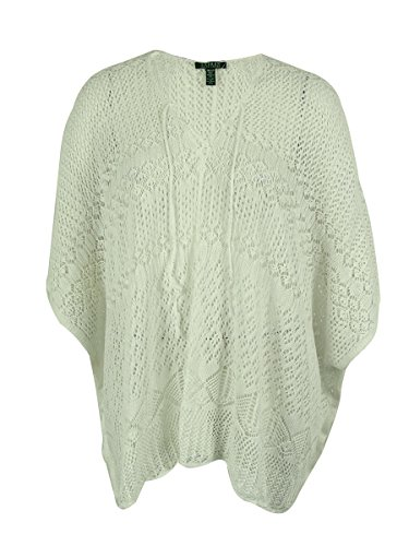 Lauren Ralph Lauren Womens Linen Crochet Poncho Sweater White O/S