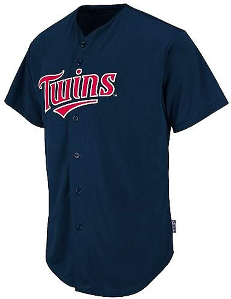 Majestic Athletic Adult Medium Minnesota Twins Blank Back Major League Baseball Cool-Base Replica MLB Jersey Navy Blue