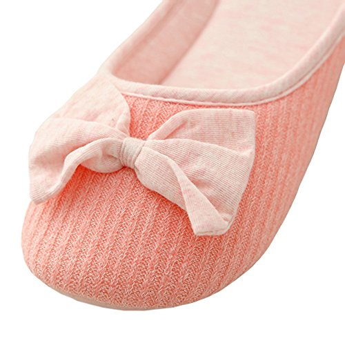 Thgonwid Womens Bow Tie Knitted Cotton Soft Sole Cozy Indoor Home Slippers Pink uSpknyU4m