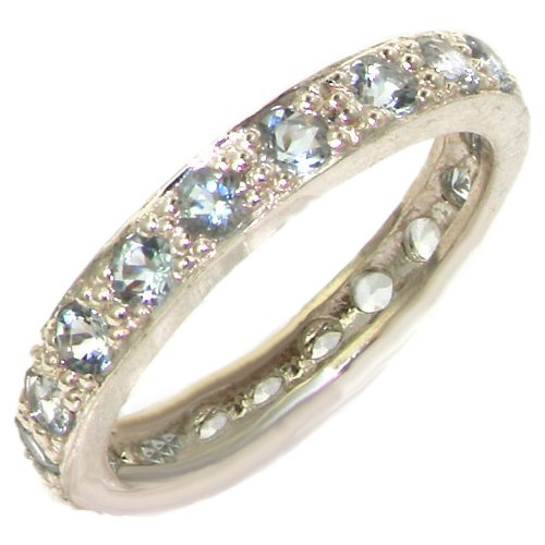 925 Sterling Silver Natural Aquamarine Womens Eternity Ring Sizes 4 to 12 Available