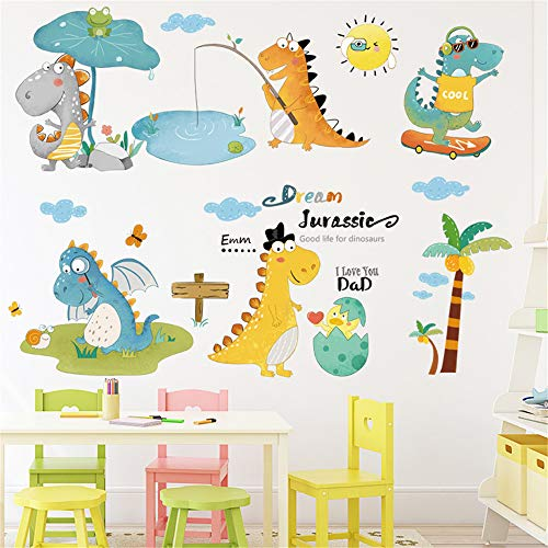 Dinosaurs Fishing Skateboarding Play Wall Decals Removable Wall Stickers Mural for Kids Bedroom Playroom Boys Girls Baby Nursery Rooms Art Wall Decor
