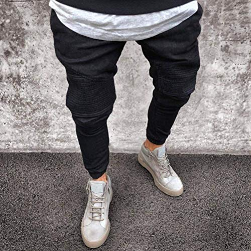 Summer Casual Jeans Skinny Comodo Pantaloni Fit Uomo Jogging Pants Fori Slim Da Nero Destroyed Stretch Con Battercake Chern vHTSqwT