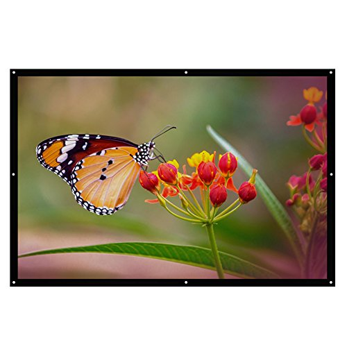Abdtech 120 Inch 16:9 Projector Screen HD Portable Outdoor /Indoor Home Theater Movie Projection Screen Made of PVC Fabric Matte