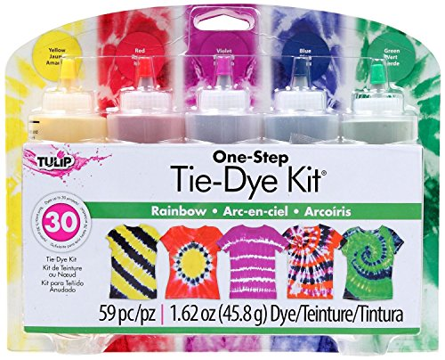 Tulip - One-Step 5 Color Tie-Dye Kits Rainbow,1.62oz and Tulip Rubber Bands 100-pc by Tulip