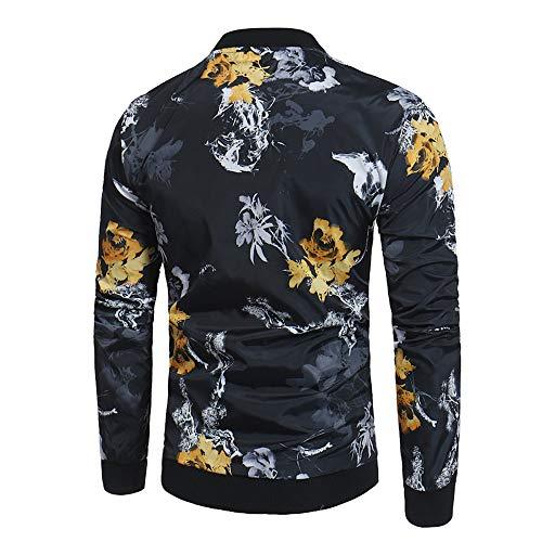 Coton Manteaux Tops Fermeture Automne Chic Longues Manteau Veste Homme xl S Mode Blouse B À Itisme Éclair Hiver Impression Noir Chaud Manches CpF5YB