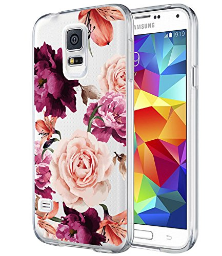 Galaxy S5 Case,Galaxy S5 i9600 Case with flowers, BAISRKE Slim Shockproof Clear Floral Pattern Soft Flexible TPU Back Cove for Samsung Galaxy S5 i9600 [Purple - Galaxy S5 Cases Dollar For