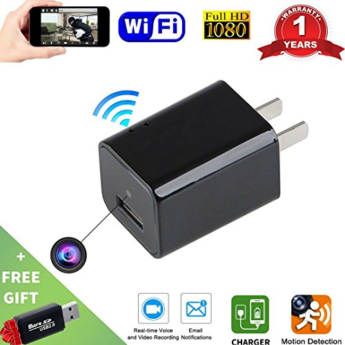 Wi-Fi Hidden Camera USB Phone Charger-HD 1080P Spy Cameras-AC Wall Plug Adapter Cam- Motion Detection  -APP Remote Video View -Nanny Cam / For Home Security -Kids , Pets Surveillance - Finder App Eyeglass