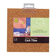 Quartet Natural Cork Tiles for Bulletin Boards, 6 x 6 Inches, 4 Tile Pack (11-150252Q)